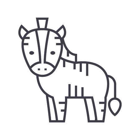 cute zebra vector line icon, sign, illustration on white background, editable strokes