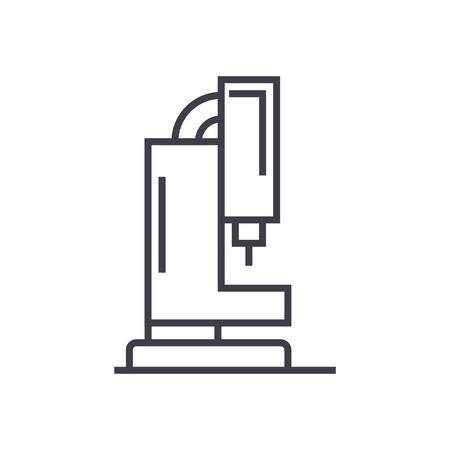 레이저 기계 절단 벡터 선 아이콘, 기호, 흰색 배경에 그림 편집 가능한 획 일러스트