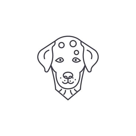 dalmatian, dog vector line icon, sign, illustration on white background, editable strokes Illustration