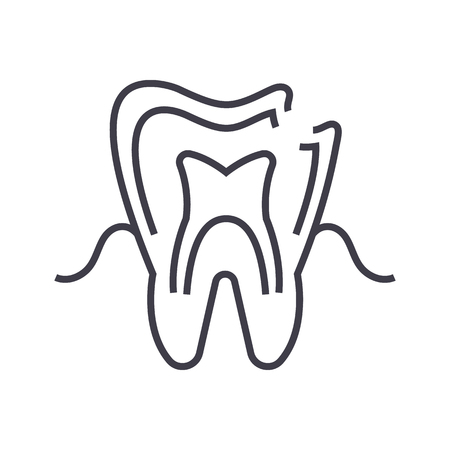 dental caries vector line icon, sign, illustration on white background, editable strokes Illustration