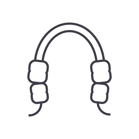 치과 잇몸 벡터 라인 아이콘, 기호, 흰색 배경에 그림 편집 가능한 획 일러스트