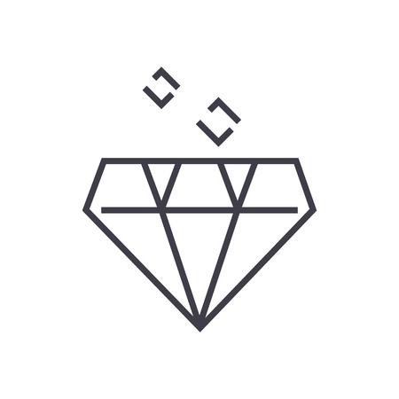 ダイヤモンド ベクトル線アイコン、記号、白い背景に、編集可能なストロークの図
