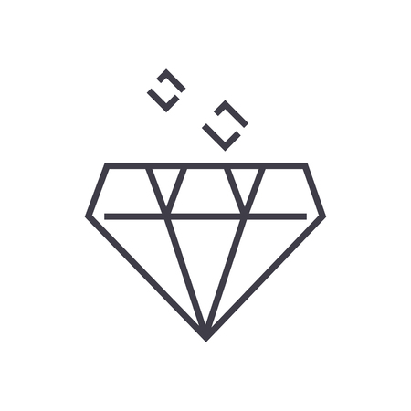 diamond vector line icon, sign, illustration on white background, editable strokes