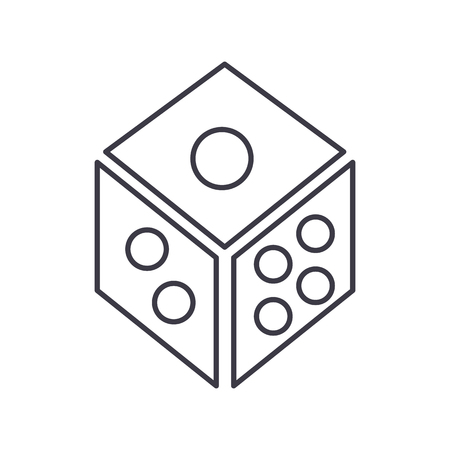 dice,game cube vector line icon, sign, illustration on white background, editable strokes