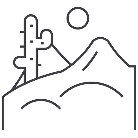 desert vector line icon, sign, illustration on white background, editable strokes