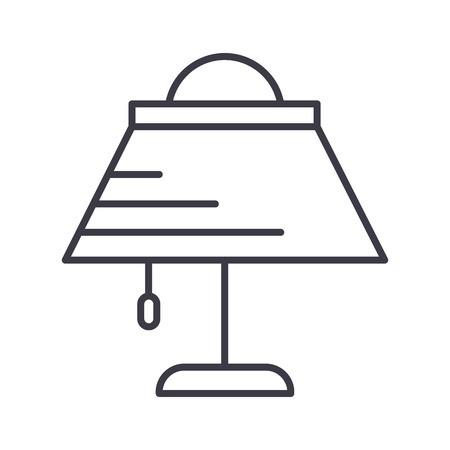 desk lamp  vector line icon, sign, illustration on white background, editable strokes