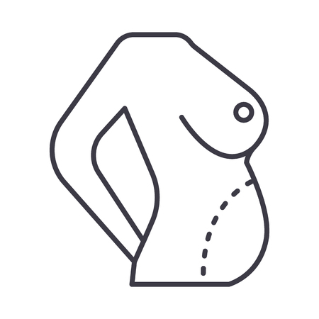 diet body,fat correction,belly vector line icon, sign, illustration on white background, editable strokes