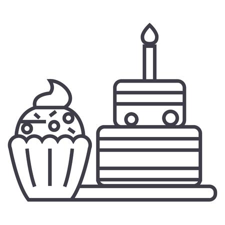 dessert vector line icon, sign, illustration on white background, editable strokes