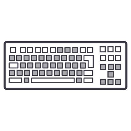 detailed keyboard vector line icon, sign, illustration on white background, editable strokes Illustration