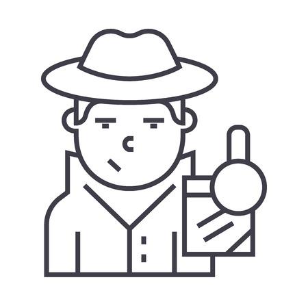 detective vector line icon, sign, illustration on white background, editable strokes Illustration