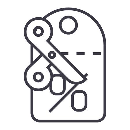 kortingen, label, schaar vector lijn pictogram, teken, illustratie op witte achtergrond, bewerkbare lijnen