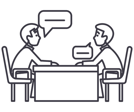 2 つのパートナー、インタビュー、質問、試験ベクトル線アイコン、記号、白い背景に、編集可能なストロークのイラストについて