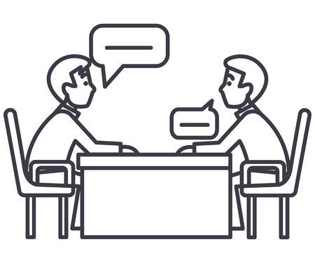 Discussion de deux partenaires, interview, interrogation, icône de ligne de vecteur d'examen, signe, illustration sur fond blanc, coups modifiables Banque d'images - 87221964