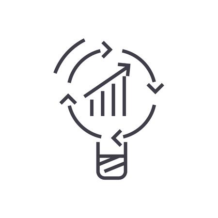 Gegevensinzicht, het pictogramillustratie van de idee vectorlijn op witte achtergrond, editable slagen Stock Illustratie