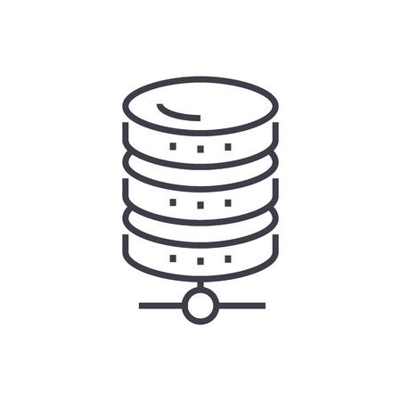 Database network vector line icon illustration on white background, editable strokes