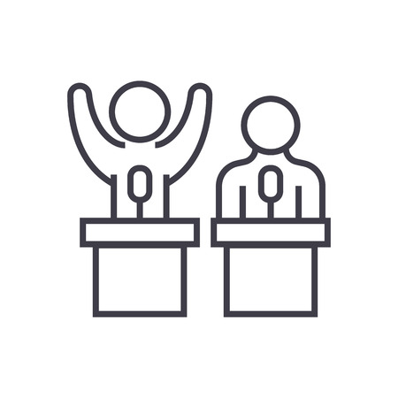 Debates or lecture vector line icon illustration on white background editable strokes  イラスト・ベクター素材