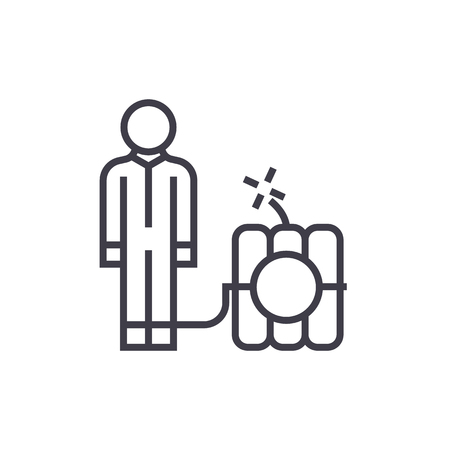 Debt problems,man with dynamite bomb  vector line icon illustration on white background, editable strokes Illustration