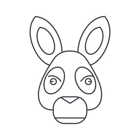 ロバ頭ベクトル編集可能なストローク、白地にライン アイコン イラスト