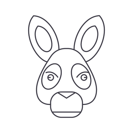 Donkey head vector line icon illustration on white background, editable strokes