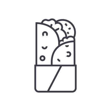 Doner kebab vector illustratie van het lijnpictogram op witte achtergrond, bewerkbare slagen