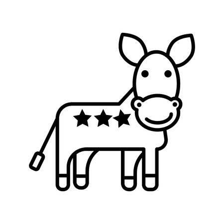 Donkey, democratic party vector line icon illustration on white background, editable strokes