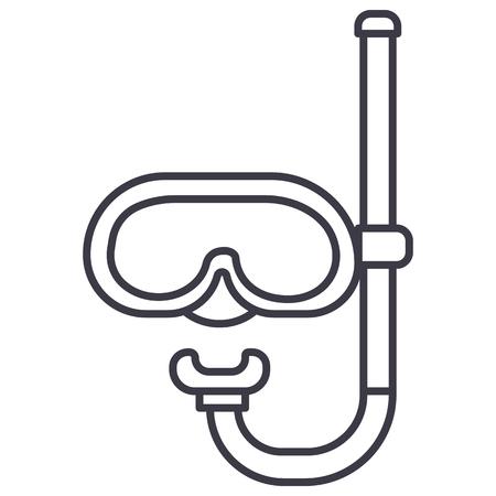 白い背景に、編集可能なストロークのダイビング マスク ベクター ライン アイコン イラスト  イラスト・ベクター素材