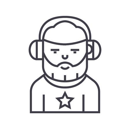 audio mixer: DJ vector line icon illustration on white background, editable strokes Illustration