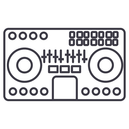 DJ 믹서, 흰색 배경에 음악 파티 테크노 벡터 라인 아이콘 그림을 편집 가능한 획
