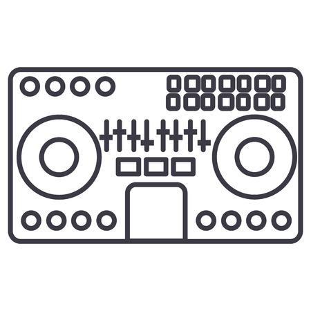 Table de mixage DJ, mélange d'illustration d'icône de ligne musique party techno vectorielle sur fond blanc, traits modifiables Banque d'images - 87221987
