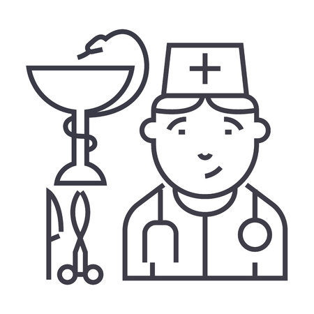 doctor sign vector line icon, sign, illustration on white background, editable strokes Illustration