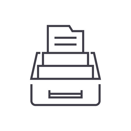 document archive,box with files vector line icon, sign, illustration on white background, editable strokes