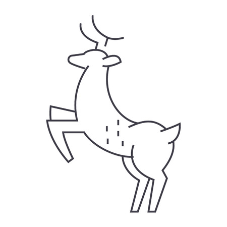 deer vector line icon, sign, illustration on white background, editable strokes 向量圖像