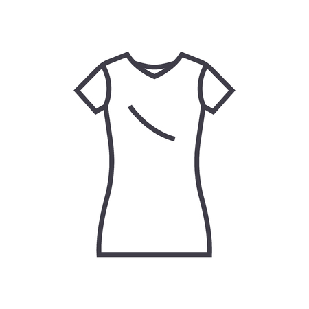 dress tunic,long skirt vector line icon, sign, illustration on white background, editable strokes