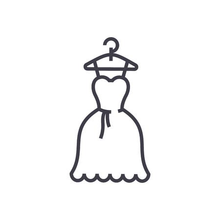 드레스 웨딩, 공 가운 벡터 라인 아이콘, 기호, 흰색 배경에 그림 편집 가능한 획 스톡 콘텐츠 - 87222010
