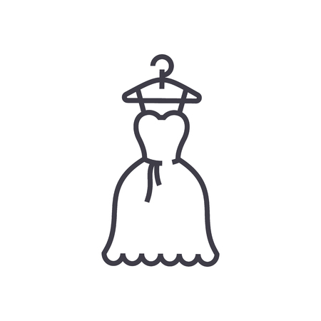 dress wedding, ball gown vector line icon, sign, illustration on white background, editable strokes