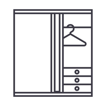 dressing room vector line icon, sign, illustration on white background, editable strokes