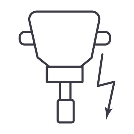 드릴러 벡터 라인 아이콘, 기호, 흰색 배경에 그림 편집 가능한 획 일러스트