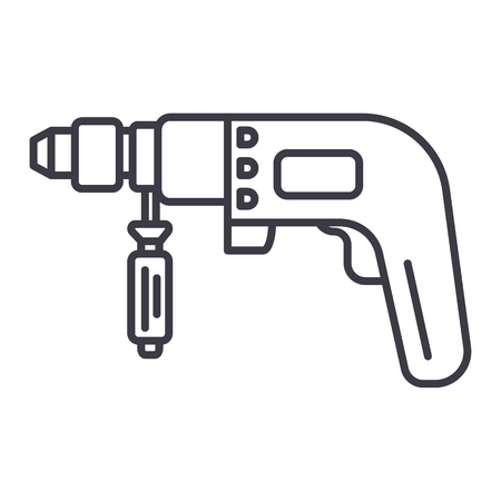 드릴링 머신 그림 벡터 라인 아이콘, 기호, 흰색 배경에 그림 편집 가능한 획