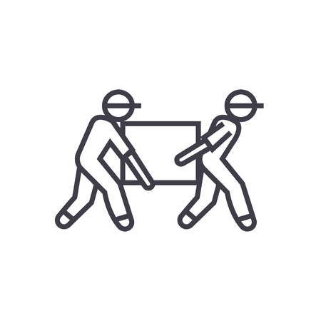 deliverymen,box taking vector line icon, sign, illustration on white background, editable strokes