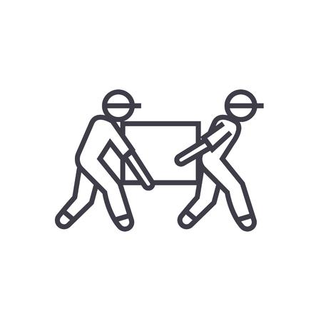 Livreurs, boîte prenant vecteur ligne icône, signe, illustration sur fond blanc, coups modifiables Banque d'images - 87222022