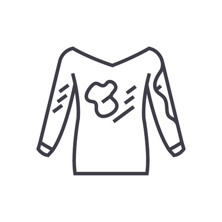 dirty clothes,hoodie,laundry service,stain removal vector line icon, sign, illustration on white background, editable strokes