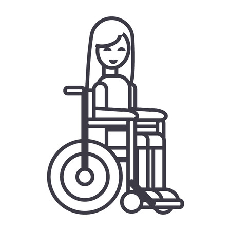 disabled girl in wheelchair vector line icon, sign, illustration on white background, editable strokes