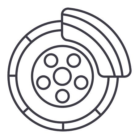 disc brake,car service vector line icon, sign, illustration on white background, editable strokes