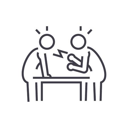 disputa, debate, conversación icono de línea vectorial, signo, ilustración sobre fondo blanco, movimientos editables Ilustración de vector