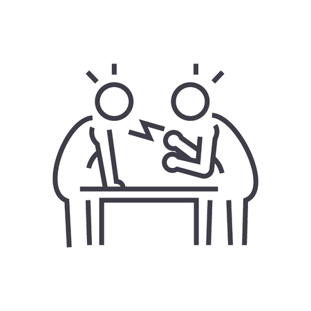 dispute,debate,conversation vector line icon, sign, illustration on white background, editable strokes