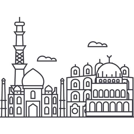 델리, 인도 벡터 라인 아이콘, 기호, 흰색 배경에 그림 편집 가능한 획 일러스트