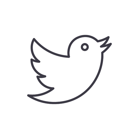 duif, twitter vector lijn pictogram, teken, illustratie op witte achtergrond, bewerkbare lijnen