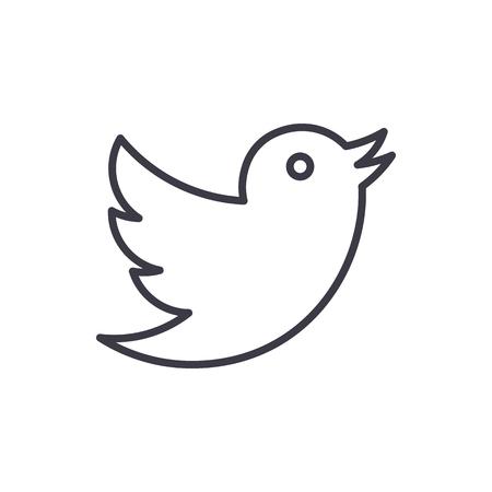 pomba, twitter ícone de linha do vetor, sinal, ilustração em fundo branco, traços editáveis Ilustración de vector