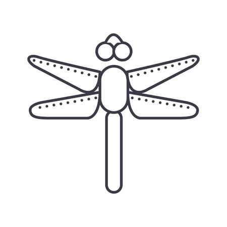 Icona linea di vettore di libellula, segno, illustrazione su sfondo bianco, colpi modificabili Archivio Fotografico - 87222044