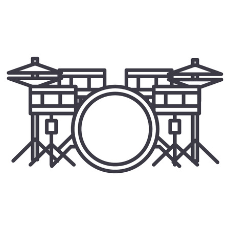 drums set vector line icon, sign, illustration on white background, editable strokes Illustration